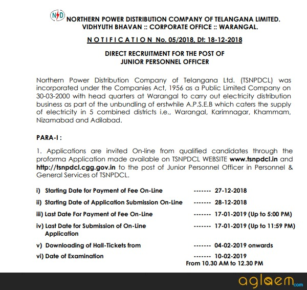 TSNPDCL JPO Notification 2018