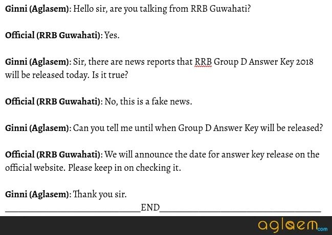 RRB Guwahati Confirms RRB Group D Answer Key 2018 Not Releasing Today