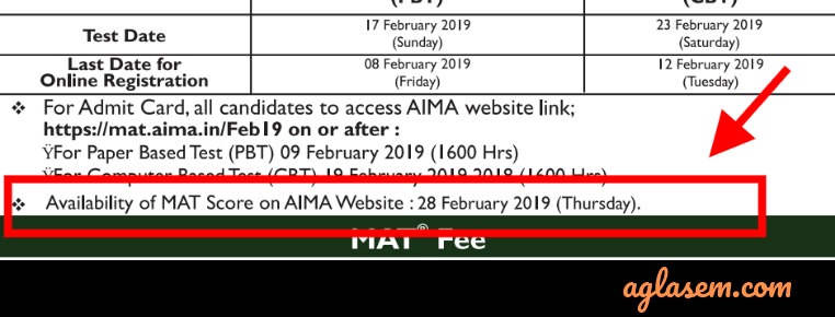 MAT February 2019 Result Date