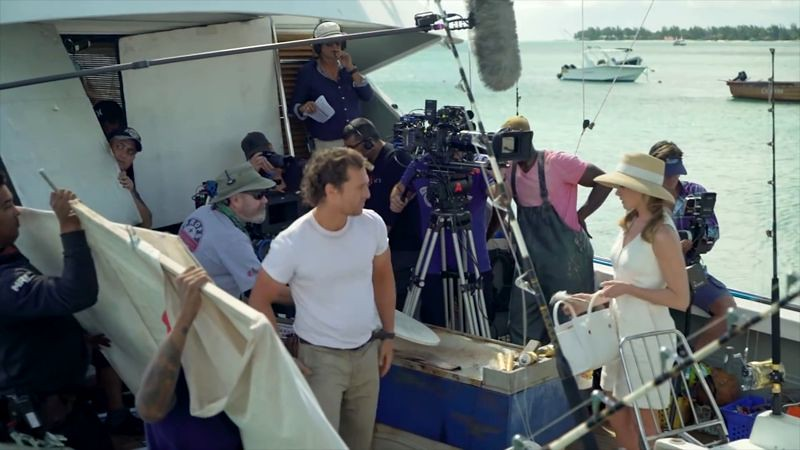 Crew and cast filming movie on a boat