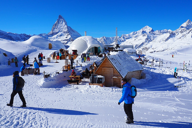 Arriving at the Igloo Village, Zermatt, Switzerland