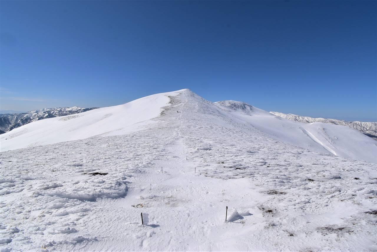 稜線から眺める雪の平標山