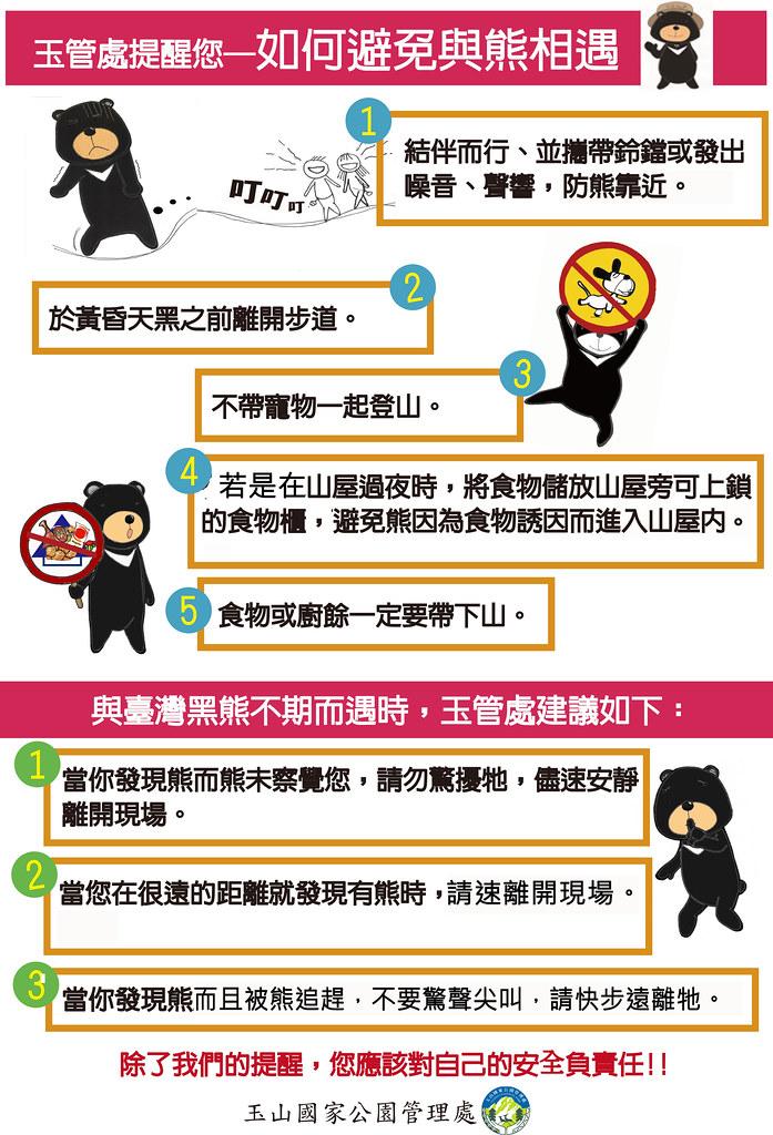 如何避免與熊相遇(圖片來源:玉管處提供)