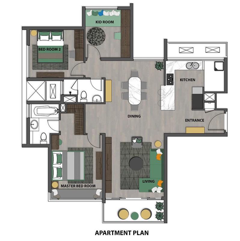 Layout Thiết kế căn hộ 3 phòng ngủ của GuocoLand