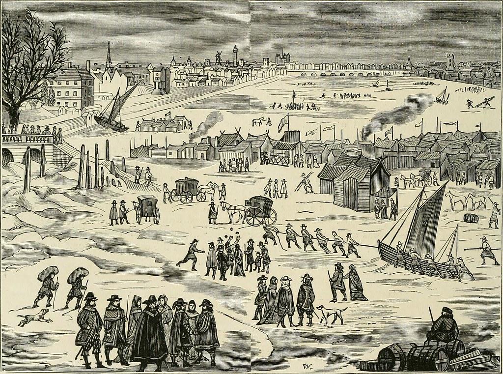 1870年代,人們會在結冰的泰晤士河上辦市集。圖片來源:Internet Archive Book Images。
