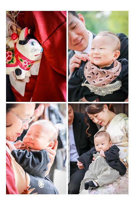お宮参り 4か月半の男の子の赤ちゃん 張り子の犬