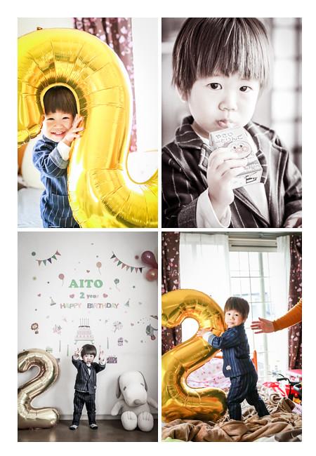 自宅で2歳の誕生日記念の家族写真 男の子 バースデーバルーン