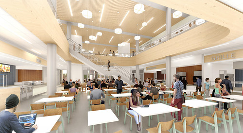 A rendering of the inside of the new dining hall