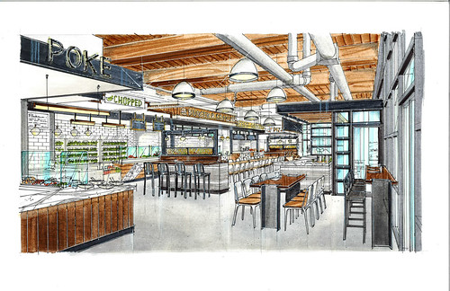 A rendering of the food hall