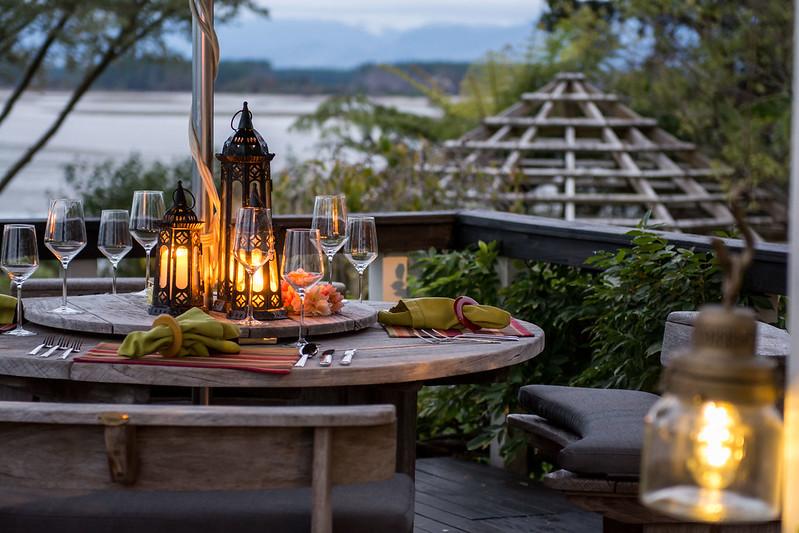 stylish dinner setting at te koi lodge in the nelson tasman region