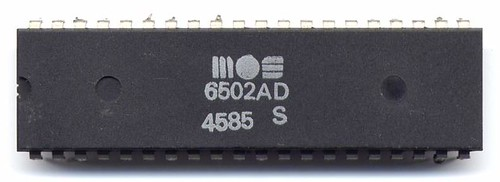 The 6502 chip (6502AD) designed by Chuck Peddle and fabricated at MOS Technology.
