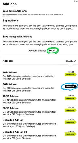 購入するアドオンを選択する画面。水色の円は、5GB のアドオンを選択した例。緑色の円には現在の残高が表示されている。