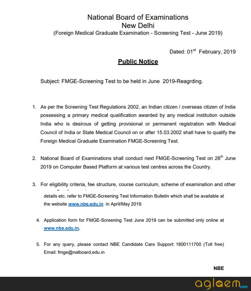 FMGE June 2019 Exam Date Announced; Information Brochure to Release in April - May 2019