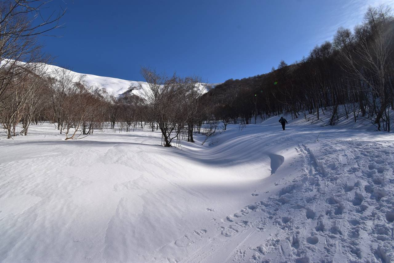 ヤカイ沢ルートの雪原