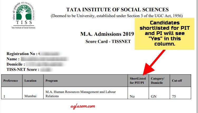TISSNET 2020 Scorecard Sample