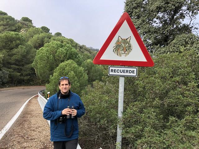 Sele en la Sierra de Andújar ante un cartel de carretera con el dibujo de un lince ibérico