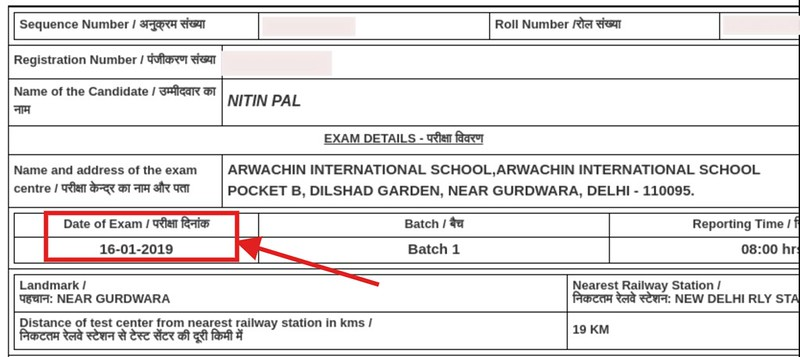 RPF SI Admit Card 2018 - Screenshot