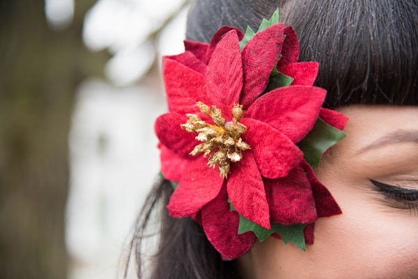 poinsettia hair flower