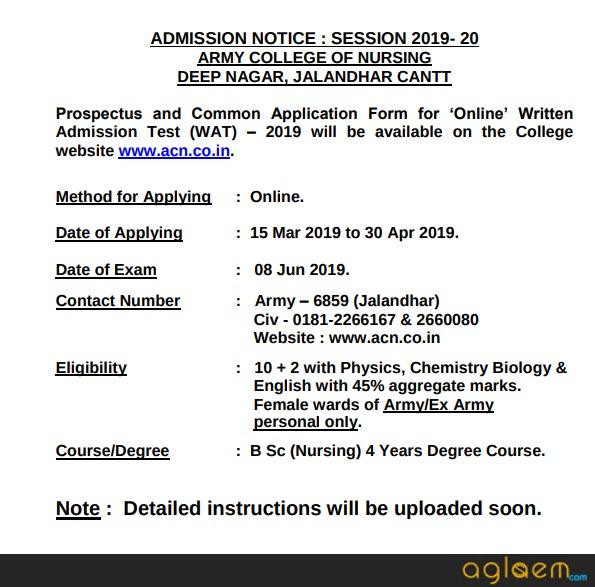 Army College of Nursing (ACN) Jalandhar Admission 2019 | AglaSem