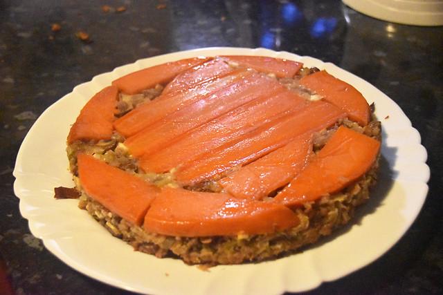maple-glazed sweet potato, chestnut and feta loaf