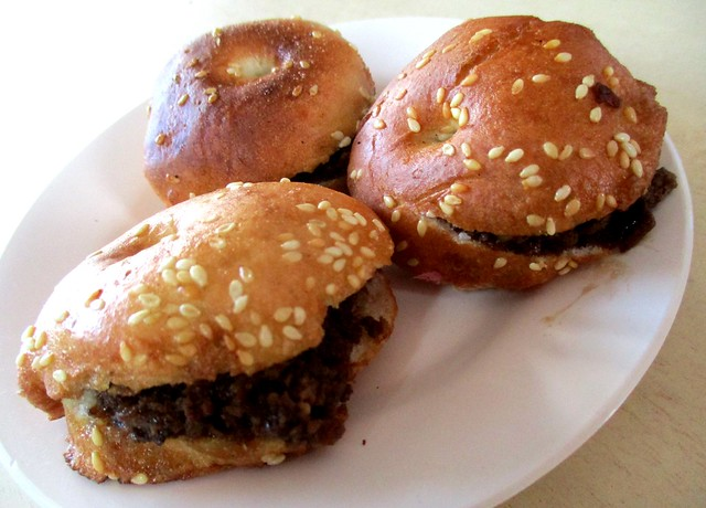 Fried kompia with minced meat filling