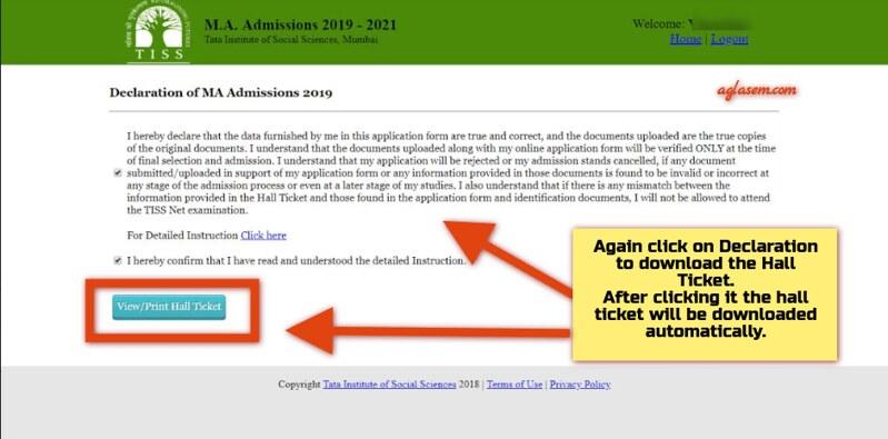 TISS Admit Card Download Process