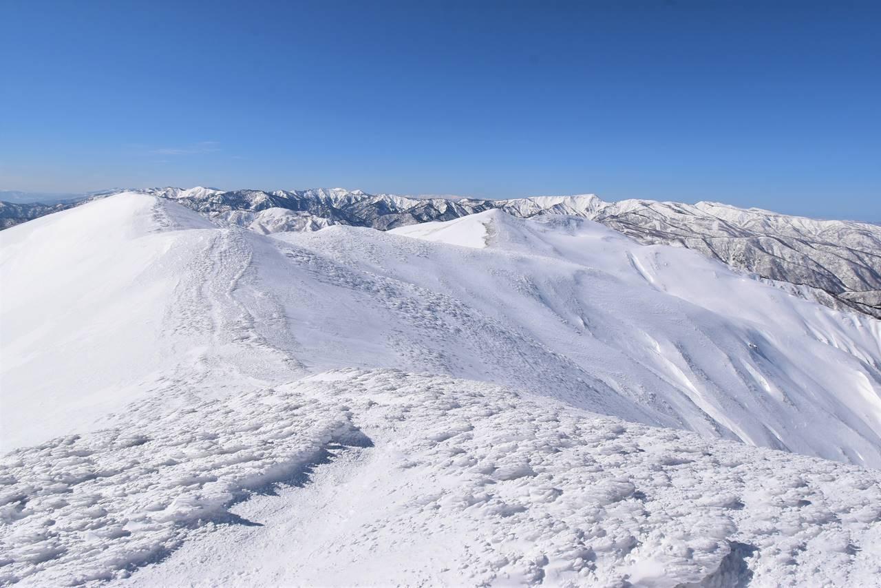 仙ノ倉山から平標山へ雪の稜線をゆく