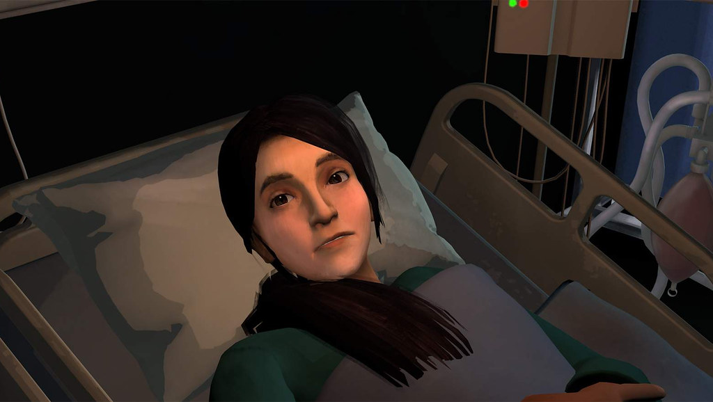 Anna in a hospital bed