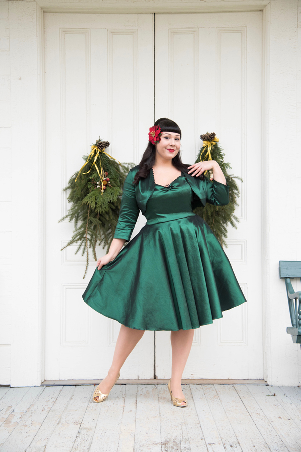 dark green retro dress