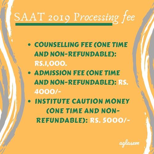 SAAT 2019 processing fee