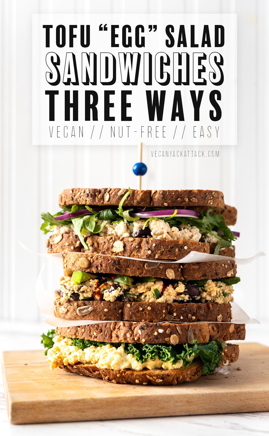 Protein-rich, easy, and flavorful, everyone needs a classic tofu egg salad sandwich in their lives! Here are 3 ways to make the perfect, quick lunch. #vegan #veganyackattack