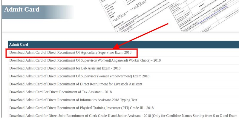 Admit Card Links Page