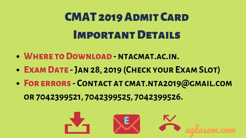 CMAT 2019 Admit Card Important Details