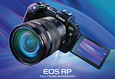 The new Canon EOS RP full-frame, mirrorless, interchangeable-lens camera.