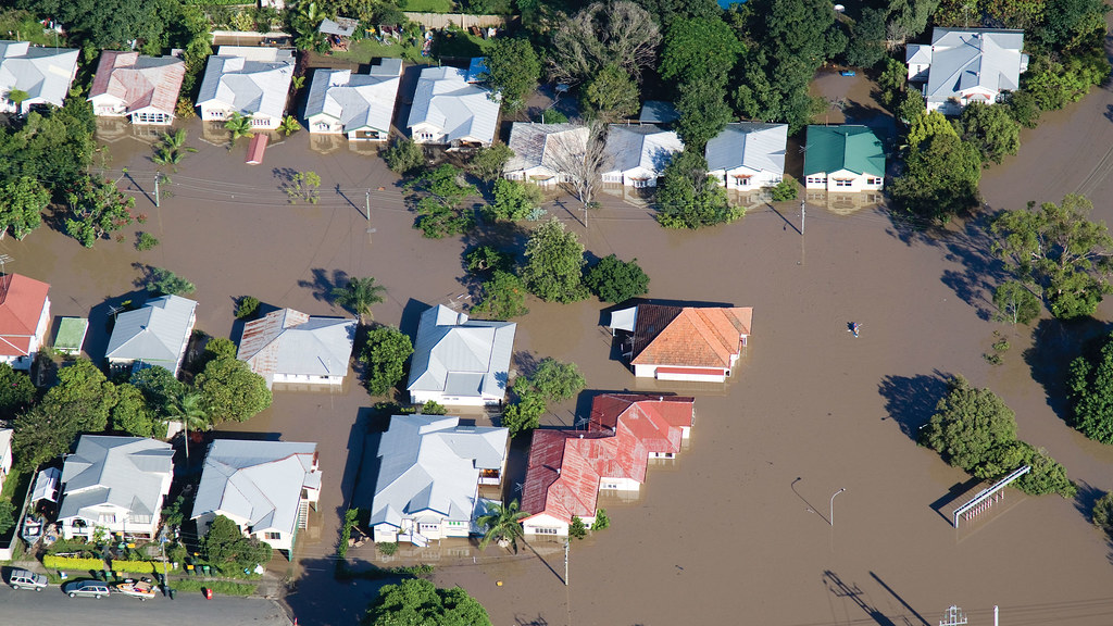 aerial shot of a flooded residential neighbourhood