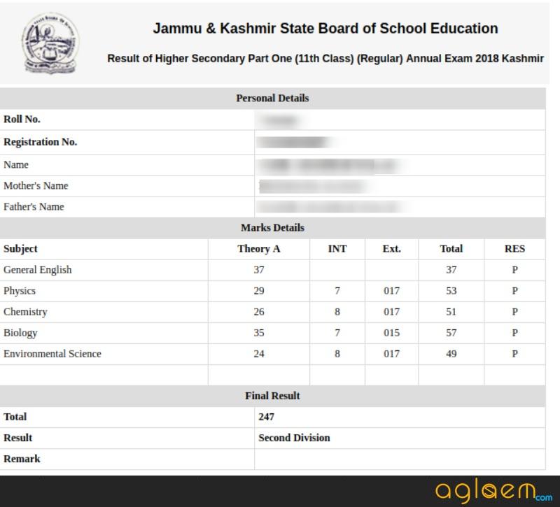 JKBOSE 11th Annual Regular Result 2018 for Kashmir Division