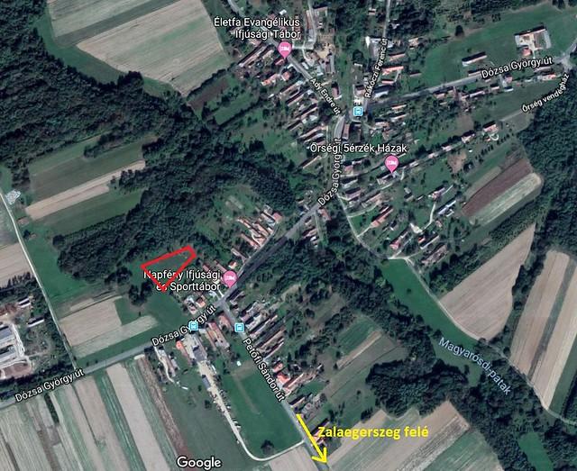 VCSE - Odatalálás a táborhoz Őrimagyarósdon. A pirossal jelölt rész az észlelőrét. - Google Maps