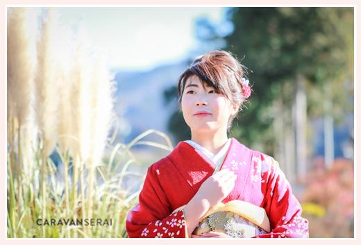 成人式の前撮り写真 出張撮影 自宅の庭 愛知県豊田市稲武地区