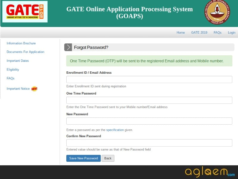 GATE 2019 Admit Card (Released) - Download From GOAPS Login