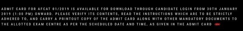AFCAT 1 Admit Card 2019 notice on website
