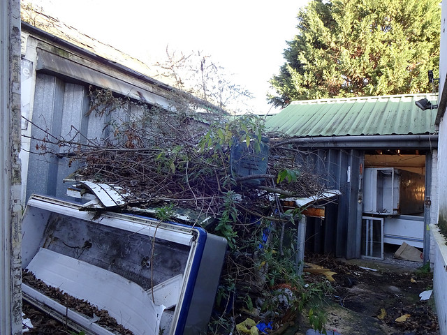 A low building with a green corrugated roof, filled with what look like old freezers.  Another old freezer has been dumped in front along with a pile of trimmed tree branches.