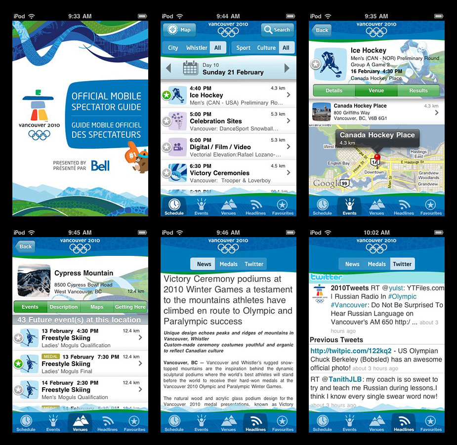 Vancouver 2010 Olympics Mobile Spectator Guide screen shots