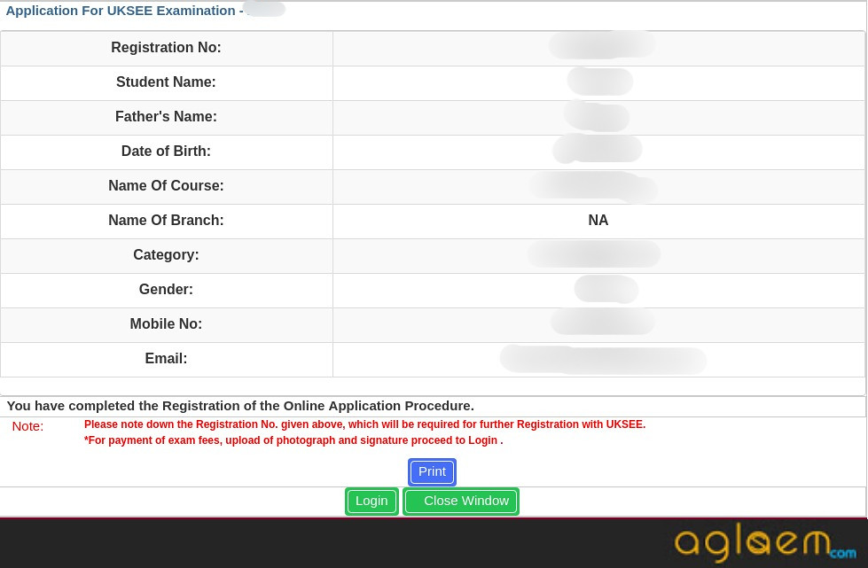 UKSEE 2019 Registration no.