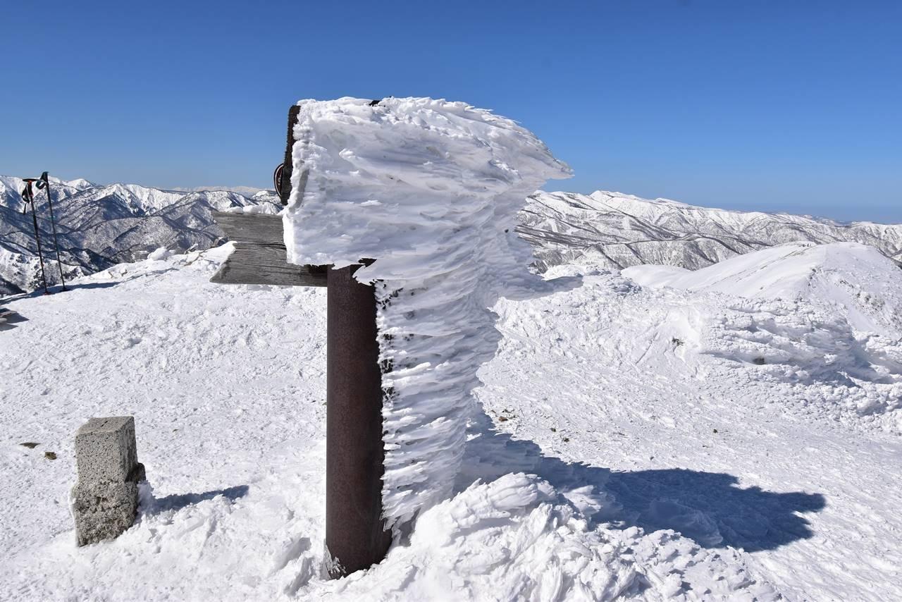 平標山山頂標識のえびの尻尾