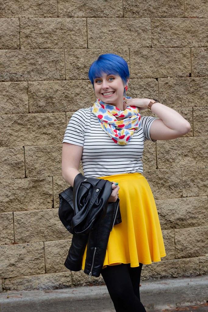 Blue Hair, Striped Shirt, Star Trek Patterned Scarf