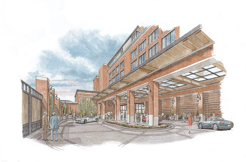 A rendering of the Laurel, the luxury boutique teaching hotel
