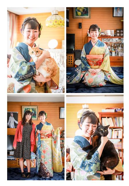 自宅で成人式 ペットの猫とも記念撮影