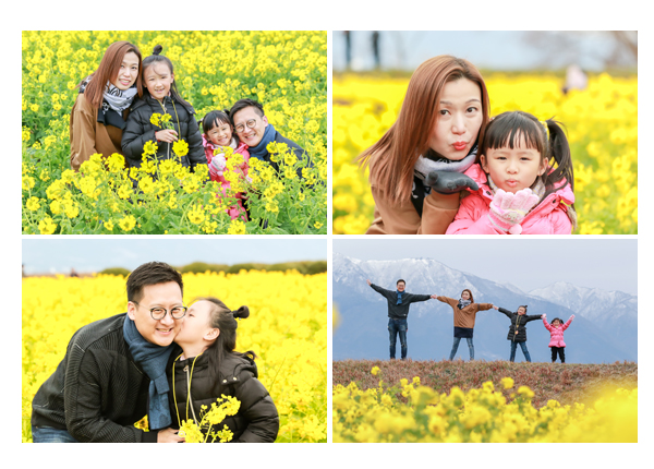 Family photo shooting in canola flower garden, Shiga, Near Kyoto