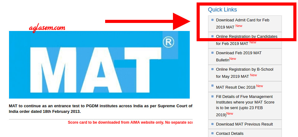 AIMA Released MAT 2019 Admit Card; Download for 17 Feb Exam at mat.aima.in