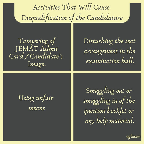 JEMAT Admit Card 2019 Don'ts